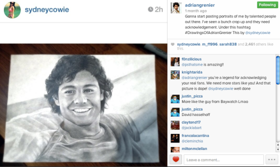 Adrian Grenier's reposted Instagram of my drawing